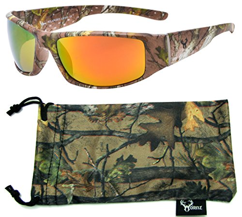 2933e958d10 Hornz Brown Forrest Camouflage Polarized Sunglasses for Men Full Frame Wide  Arms   Free Matching Microfiber Pouch – Brown Camo Frame – Orange Lens ...