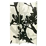 nexxt Bota Triple-Panel Floor Screen, 48 by 71 Inches, Black and Taupe Floral Design
