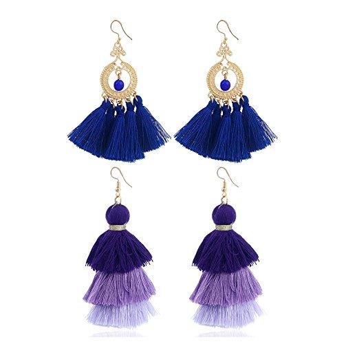 Shoopic 2 Pairs Boho Layered Long Tassel Dangle Earrings Set Circle Beaded Drop Earrings for (Beaded Drop Earring Set)