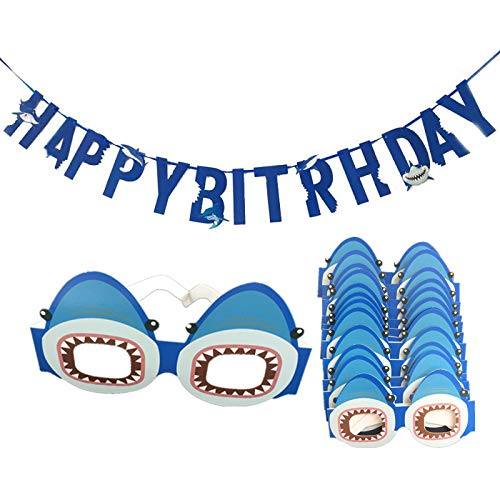 Shark Happy Birthday Kits Banner,12 PCS Paper Shark Glasses,Party Decoration Supplies for Kids Birthday Wedding Party Decor]()