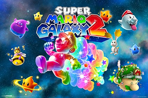 Price comparison product image Super Mario Galaxy 2 Rainbow Nintendo Wii Video Game Kids Poster - 18x12 inch