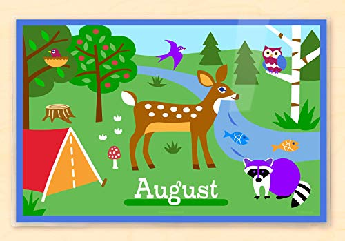 Camping Trip Personalized Placemat, Woodland Animals, 18 Inches by 12 Inches by