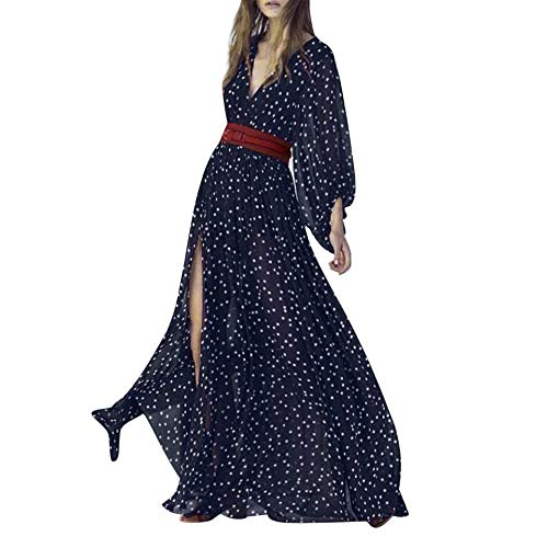 DEATU Womens Maxi Dresses Hot Sale,Ladies Casual V-Neck Polka Dot Boho Sexy Long Sleeve Beach Dress With Sashes(Navy,M)
