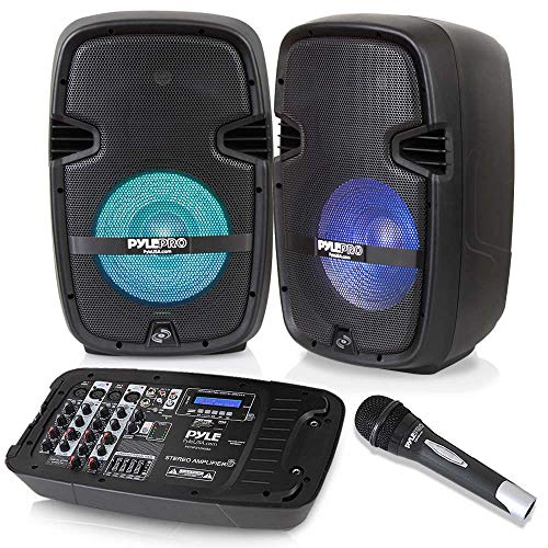 (PA Speaker DJ Mixer Bundle - Portable Wireless Bluetooth Sound System with USB SD  XLR 1/4