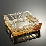 ZDD Crystal Glass Ashtray/Creative Personality Home Practical Ashtray/Decorative Ornaments Gifts/Four Colors Available (ø15cm H4.5cm) (Color : Gold)