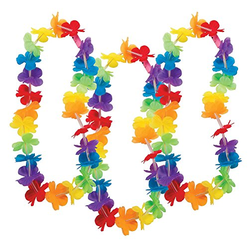 Light Up Rainbow Flower Party Leis - Pack of -
