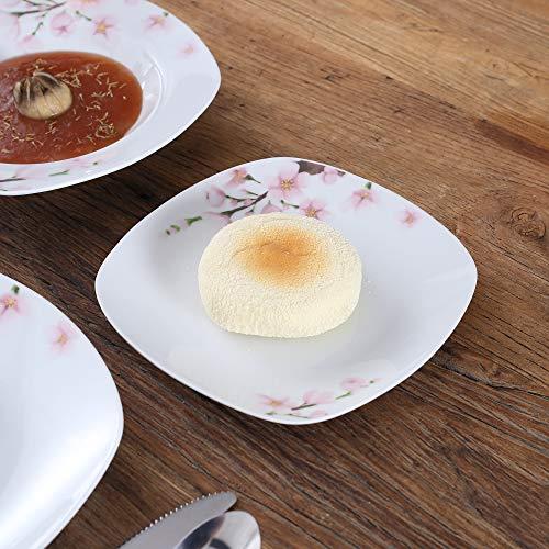 VEWEET 4-Piece Porcelain Dessert Plate Set, Durable Ivory White Bread 7-1/2 Inch Salad Plates ANNIE Series by VEWEET (Image #3)