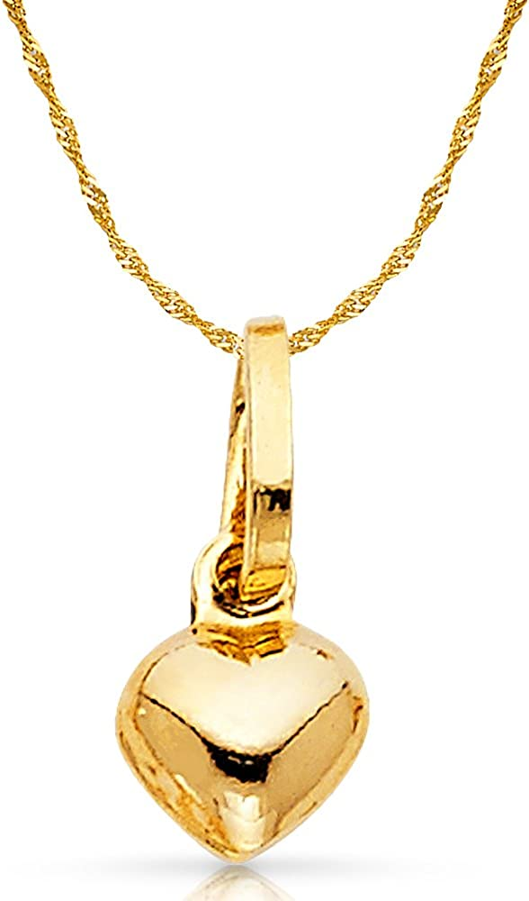 14K Yellow Gold Plain Heart Charm Pendant with 0.9mm Singapore Chain Necklace