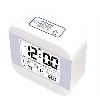 RUIX Termohigrómetro Medidor Reloj Despertador Musical para Estudiantes Reloj Despertador Infantil para Niños,White: Amazon.es: Deportes y aire libre