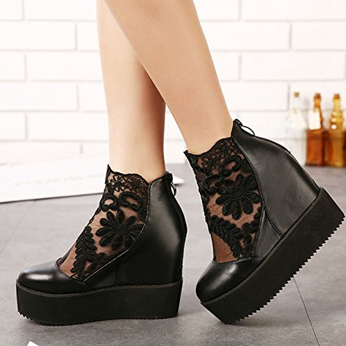 JULY Loafers Black Wedge Fashion Toe Slip Shoes T Women's On Penny Lace Heel Casual Round qEvdSW6w