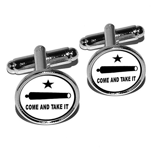 Graphics and More Come and Take it - Texas Flag - Revolt Round Cufflink Set - Silver