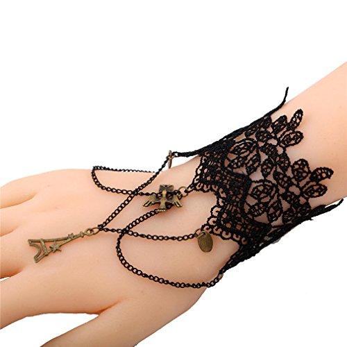 Yazilind dentelle Bracelet dentelle Bracelet Anneau noir porte des bijoux faits main pour les femmes?