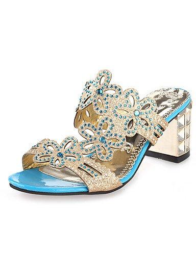ShangYi Sandaletten für Damen Damenschuhe - Sandalen / High Heels / Pantoffeln & Holzschuhe - Outddor / Kleid / Lässig - Kunstleder - Blockabsatz - Absätze / Zehenfrei Royal Blue