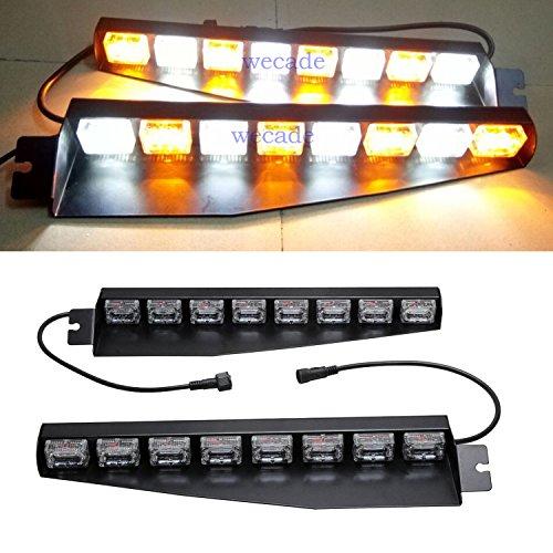wecade 48 LED 12V 48W Dashboard Deck Truck Boat Windshield Emergency Warning Flashlight Strobe Light Lamp Bar Suction Cups (Amber/White)