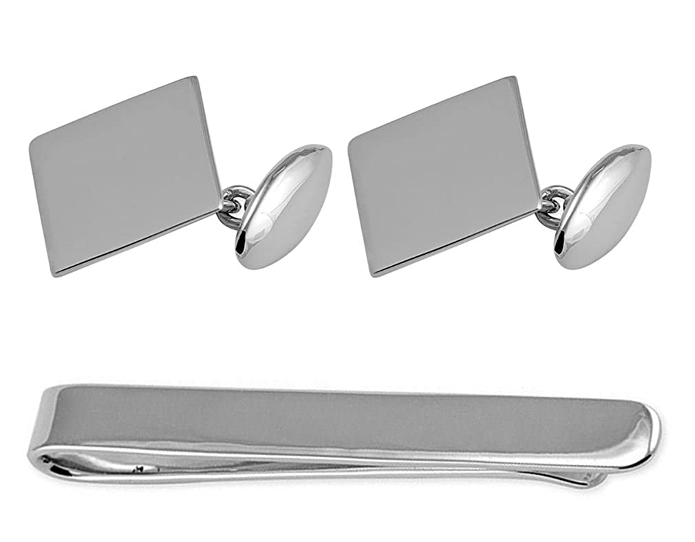Sterling Silver Oblong T Bar Cufflinks Tie Clip Box Set