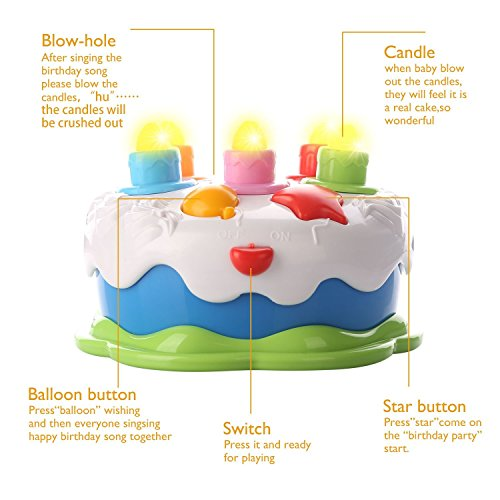 Mallya Musical Birthday Counting Cake Music With Candles Play Toy Set For Baby