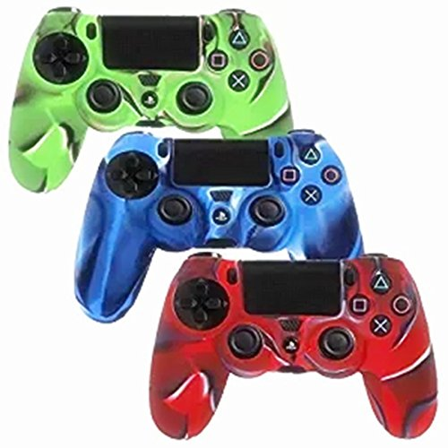 HWH INVESTMENT(TM) Camo PlayStation 4 Controller Case HWH Camo Series Silicone Protection Case Skin for Sony PS4 Controllers 3 Color (Blue/Green/Red) [3 Pack]