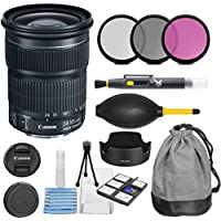 Canon EF 24-105mm f/3.5-5.6 IS STM Lens with 3pc Filter Kit (UV, CPL, FLD) + Lens Pouch + Hood + Cleaning Kit - International Version