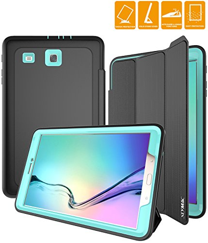 Click to buy Samsung Galaxy Tab E 9.6' Case, SEYMAC Three Layer Drop Protection Rugged Protective Heavy Duty tablet cover with Magnetic for Samsung Galaxy Tab E 9.6 inch SM-T560/SM-T561 (Black/Light Blue) - From only $19.99