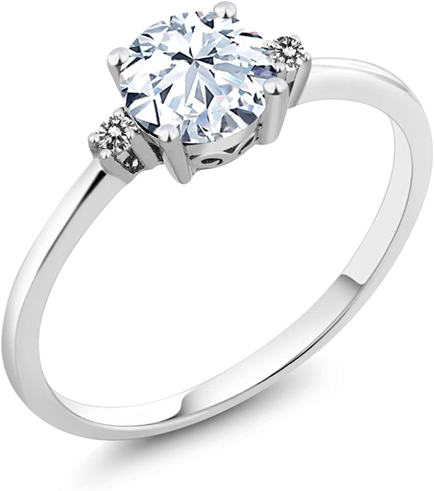 Gem Stone King 10K White Gold White Created Sapphire and White Diamonds Women's Engagement Solitaire Ring (1.23 Cttw, Available in size 5, 6, 7, 8, 9)