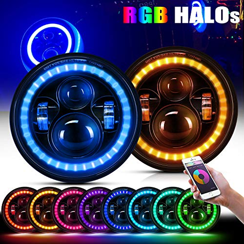 7 inch RGB Halo LED Headlight Angel Eyes W/Multicolor DRL Bluetooth Control for Jeep Wrangler JK LJ CJ Sahara Sport Rubicon Led Headlamp Set,DOT Approved (Pair) ()
