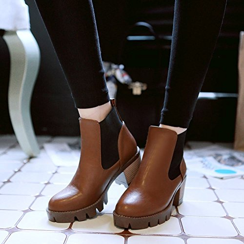 Carolbar Mujeres Retro Vintage Fashion Spring & Autumn Use Chunky Tacón Medio Botas Cortas Marrón