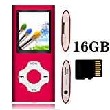 Tomameri - Portable MP3 Player with Rhombic Button,Comes with a 16GB Micro SD Card - Red