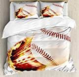 Boy's Room Queen Size Duvet Cover Set by Lunarable, Vivid Baseball Ball Tearing the Paper Background with Flames Sports Print, Decorative 3 Piece Bedding Set with 2 Pillow Shams, Red Yellow White