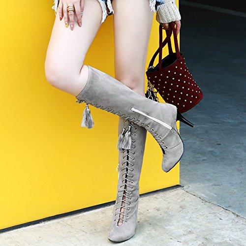 YE Damen Kniehohe Stiefel Stiletto High Heels mit Schnürung und 9cm Absatz Elegant Schuhe Grau