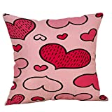Valentine's Day Pillow Covers Valentine Red Love-hearted Series Pillowcase Square Cotton Linen Decoration Cushion Cover 18x18 inch for Couch Sofa Bed Living Room Home Decor (H)