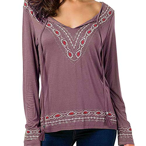 Joopee Fashion Women V-Neck Ethnic Embroidery Color Block Long Sleeve Tassel Ribbons Blouse(S,Pink)
