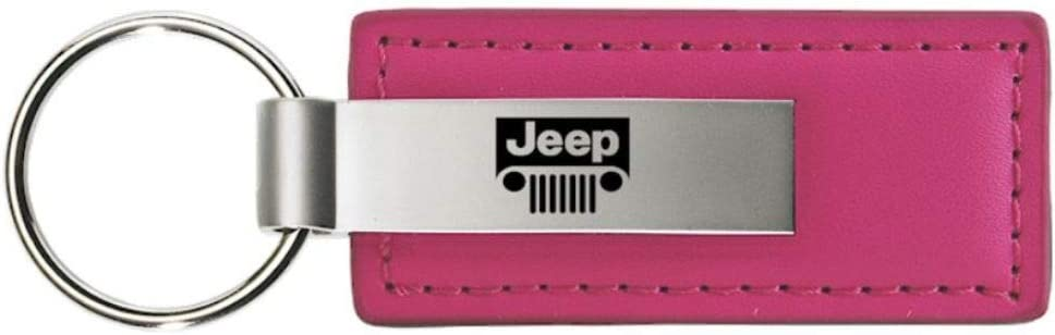 INC Au-Tomotive Gold Jeep Grill Leather Key Chain Pink Rectangular Key Ring Fob Lanyard