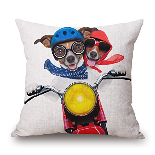 Alphadecor The Dog Throw Pillow Covers Of ,18 X 18 Inches / 45 By 45 Cm Decoration,gift For Chair,father,drawing Room,christmas,teens Girls (each Side) (Goofy Steering Wheel Cover compare prices)