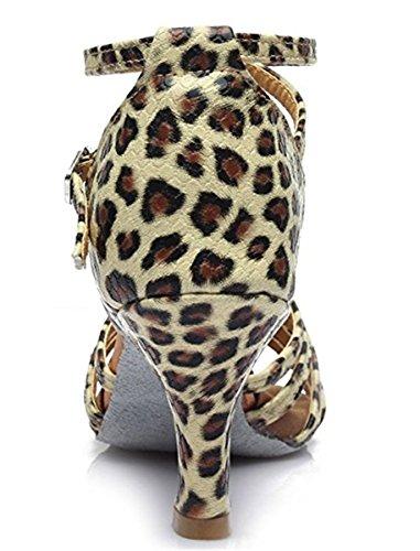 YOGLY Zapatos de Baile Latino de Mujer de Salón Tacon Medio/Bajo Zapatila de Baile Adulta con Suela Blanda Zapatos de Danza Salsa Tango Leopardo