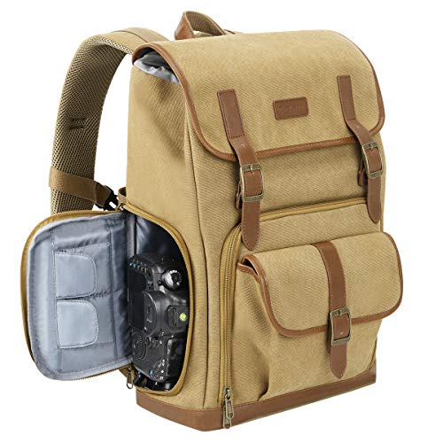 Endurax Canvas Camera Backpack for DSLR Photography Backpack with Quick Access Dual Compartments Fit SLR Cameras 3-5 Lenses and 14