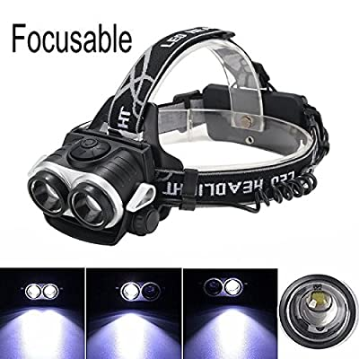 LED Headlamp,CAMTOA Camping Dual T6 LEDs Beams 3 Modes 6000 Lumens Dimmable Headlight - Dual Light Source Bicycle Headlight Lamp for Outdoor Hiking Camping Riding Fishing Hunting(NO BATTERY)