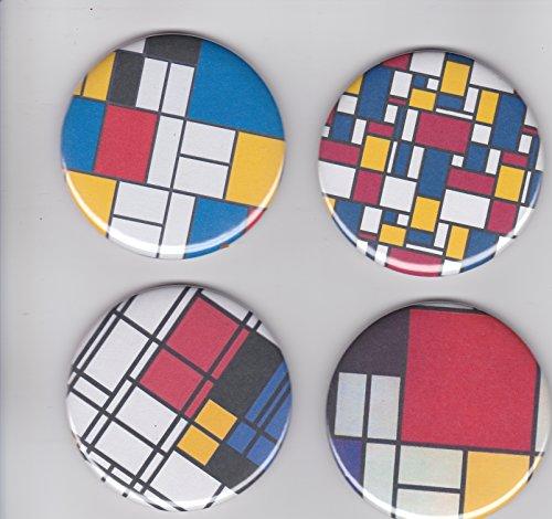 Bauhaus Mondrian Art Modern Art Magnets Large 2 1/4
