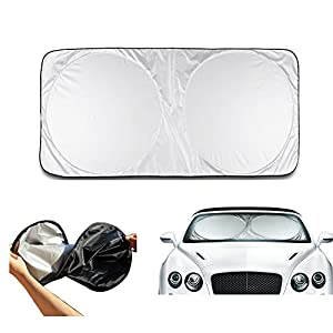 "Window Shades for Car,2win2buy Folding 59"" X 27"" Windshield Sun Shade Black Silver Tone for Car Auto One Piece, Pop-up Design Car Sunshade. Reflective Silver Nylon Car Windshield Sunshade. Sun Blocker for Front Windscreen."