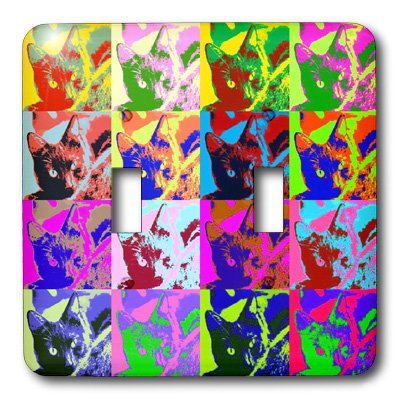 2 Double Light Switchplate - 3dRose LLC  lsp_8063_2 Cartoon Cat Pop Art Double Toggle Switch