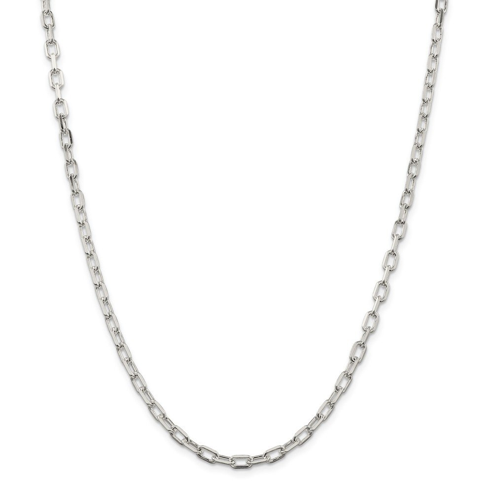 925 Sterling Silver 4.3mm Fancy Diamond-cut Open Link Cable Chain 24 Inch