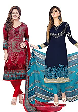 Salwar Studio Women's Pack of 2 Synthetic Unstitched Dress Material Combo-MONSOON-2160-2162