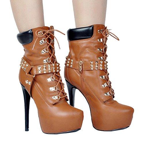 Kolnoo - Pantuflas de caña alta Mujer marrón
