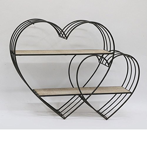Heart Design Wire - Shaba Designs Hanging Metal Wire Heart Shaped Racks with Wooden Shelves