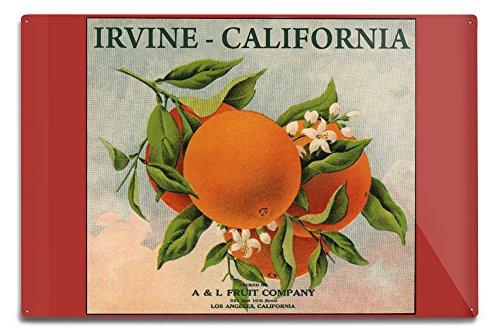 Lantern Press Irvine, California - Fruit Company Orange Citrus Crate - Vintage Label (12x18 Aluminum Wall Sign, Wall Decor Ready to Hang)