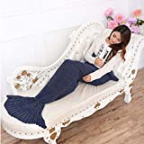 Black Friday Deals Mermaid Tail Blanket Crochet Mermaid Blanket for Adult,Soft All Seasons Thicken Sleeping Blankets Bag,Best Birthday Christmas Gifts ,Navy Blue(195cmX95cm)