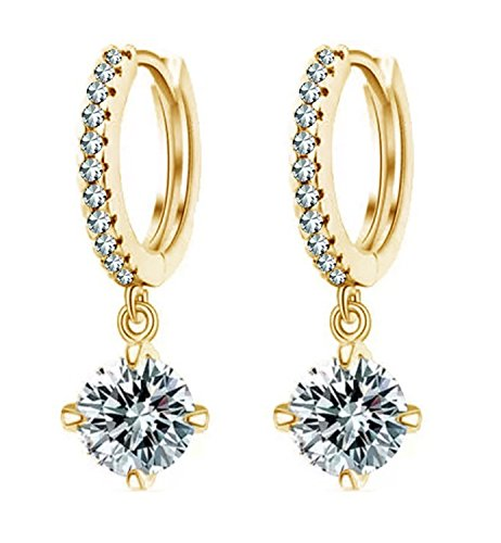 Shining Diva Latest 18k Gold Platinum Plated Austrian Crystal Bali Earrings for Girls and Women