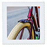 3dRose Alexis Photography - Transport Bike - Purple metal frame and white front wheel of a modern bicycle - 16x16 inch quilt square (qs_270730_6)