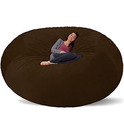 Charming Comfy Sacks 8 Ft Memory Foam Bean Bag Chair, Brown Furry
