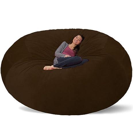 Comfy Sacks 8 Ft Memory Foam Bean Bag Chair Brown Furry