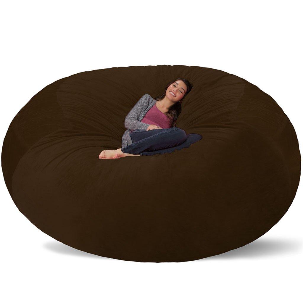 Comfy Sacks 8 ft Memory Foam Bean Bag Chair, Brown Furry